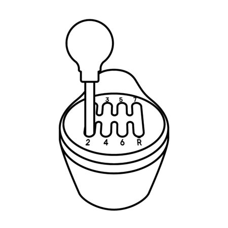 Car gearbox icon in line art style isolated on white background. Vector illustration. Illustration