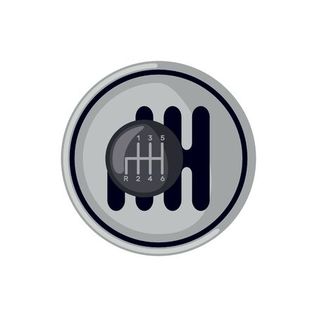 Car gearbox icon in flat style isolated on white background. Vector illustration.
