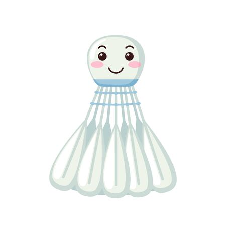 Cute Shuttlecock icon in kawaii style isolated on white background. Cartoon shuttlecock for badminton game. Vector illustration. Vector Illustration