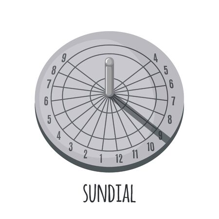 Sundial icon in flat style isolated on a white background. Vector illustration.