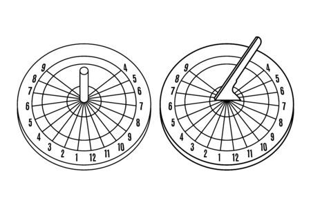 Set of Sundial icons in line art style isolated on a white background. Vector illustration.
