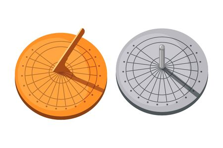 Sundial icons set in flat style isolated on a white background. Vector illustration. Vecteurs