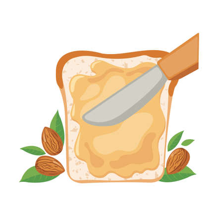 Almond Butter on bread in flat style isolated on white background. Delicious breakfast with butter toast. Vector illustration.
