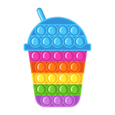 Trendy antistress sensory toy fidget in flat style isolated on white background.