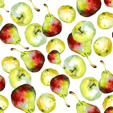 pears: Watercolor apples pears pattern 1