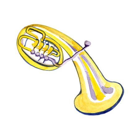 brass band: Watercolor copper brass band alto on white background Stock Photo