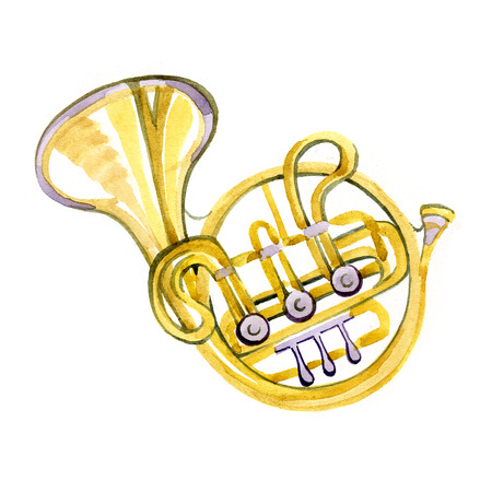 brass band: Watercolor copper brass band French horn on white background