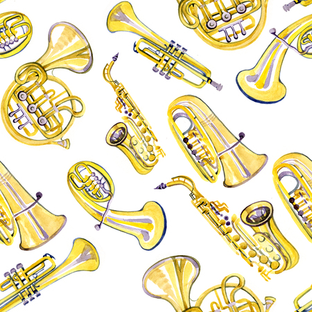 brass band: Watercolor copper brass band pattern on white background