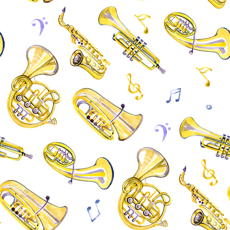 brass band: Watercolor copper brass band on white background