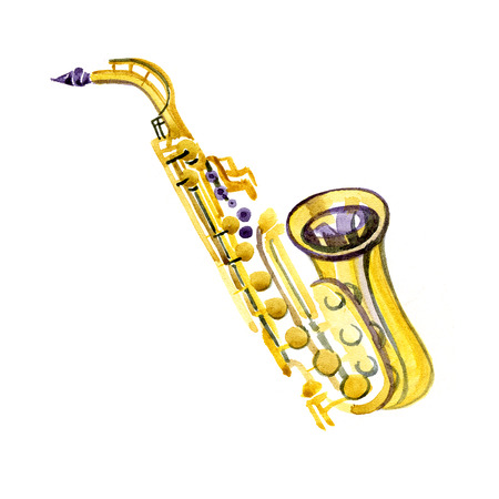 brass band: Watercolor copper brass band saxophone on white background