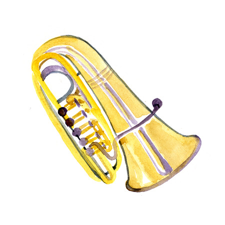Watercolor copper brass band tuba on white background 写真素材