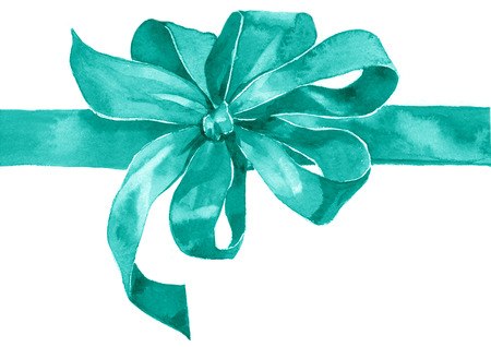Watercolor holiday blue azure bow on white background