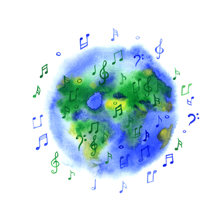 Watercolor music planet Earth on white background