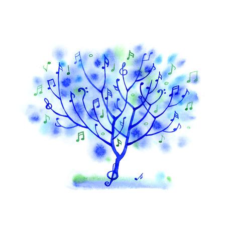 Albero Acquerello spruzzi musicale su sfondo bianco Archivio Fotografico - 55096100