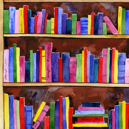 Watercolor Colored Books Pattern From The Library Stock Photo ...