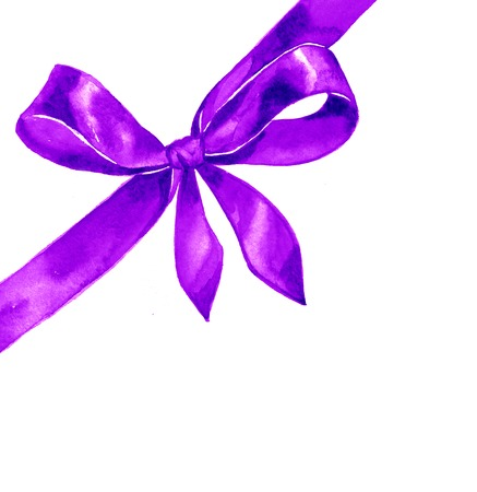 hand knot: Watercolor satin violet bow on white background