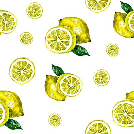Watercolor summer insulated lemon on white background Banco de Imagens
