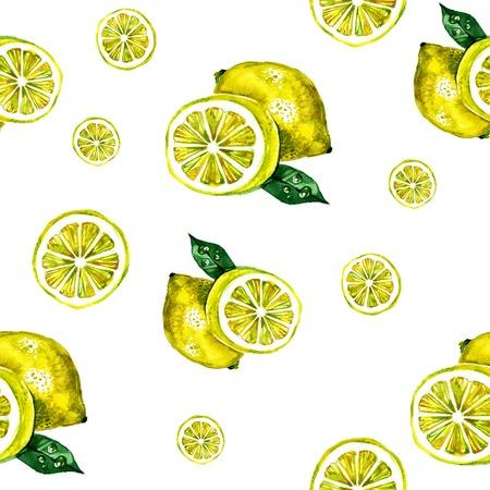 Watercolor zomer geïsoleerde citroen op een witte achtergrond