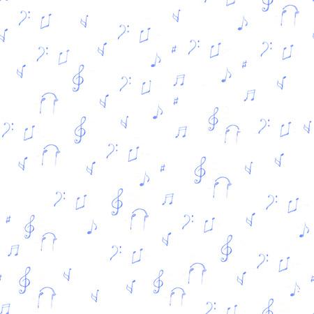 music pattern: watercolor sheet music pattern on white background
