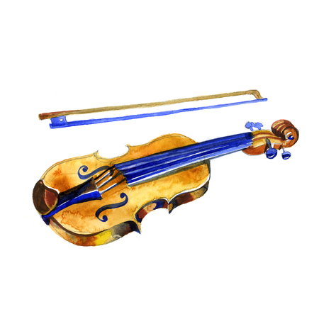 bluegrass: watercolor violin musical instrument on white background