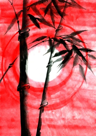 japanise: Watercolor ink Japanise bamboo on sunset background Stock Photo