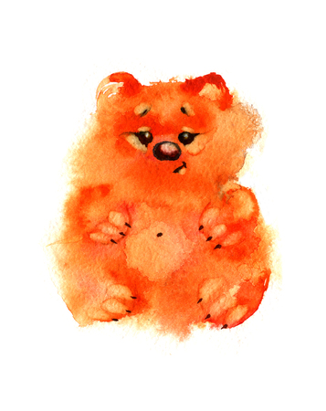 one year old: Watercolor sweet orange bears on white background