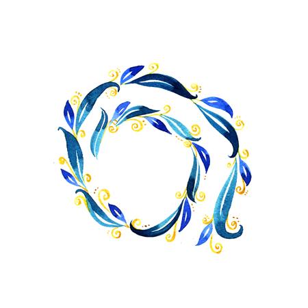 blue swirls: Watercolor Blue swirls spiral on white background Stock Photo