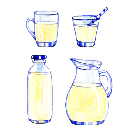 fresh milk: Watercolor fresh Dairy Products on white background Stock Photo