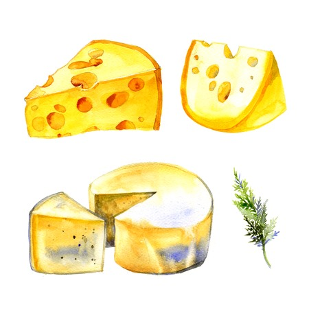 Watercolor milk cheese set on white background
