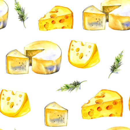 brie: Watercolor milk cheese pattern on white background Stock Photo
