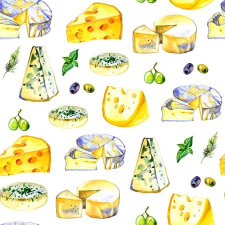 edam: Watercolor milk cheese pattern on white background Stock Photo
