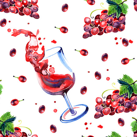 red grape: Watercolor summer grape and red wine pattern on white background Stock Photo