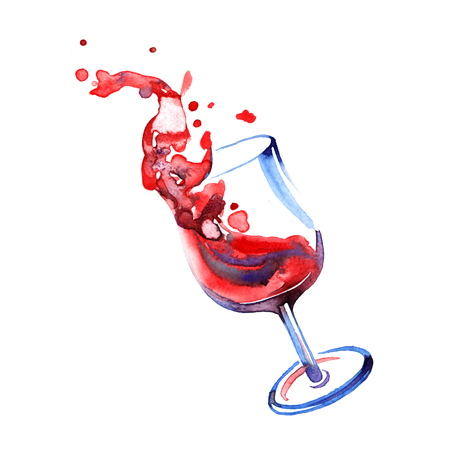 white grape: Watercolor summer red wine on white background