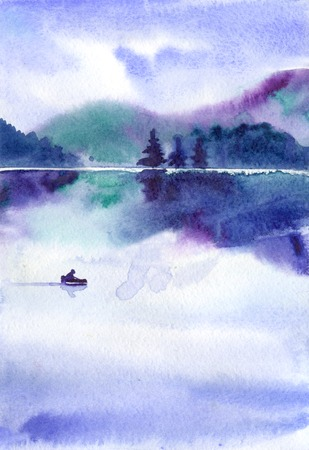 watercolor landscape with lake, the fog and the boat