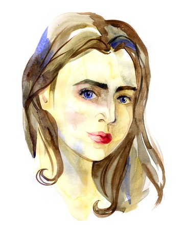 blue eyes: portrait of girl with blue eyes on white background Stock Photo