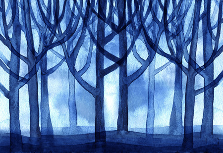 branched: Watercolor blue forest trees branched a lot of the background