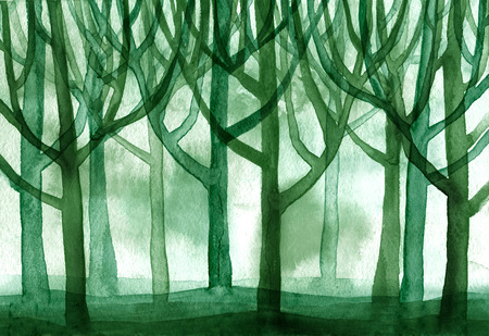 Watercolor blue forest trees branched a lot of the background