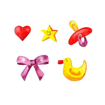pezones: Acuarela bebé marque con arcos, patos, pezones, corazones y estrellas