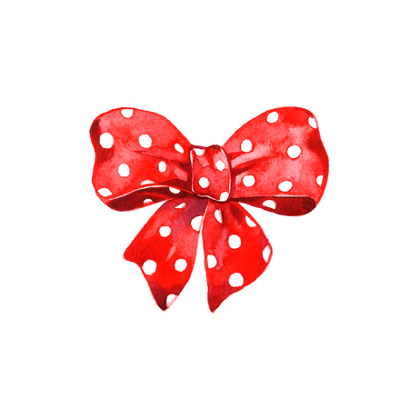 Watercolor red bow polka dot on white background