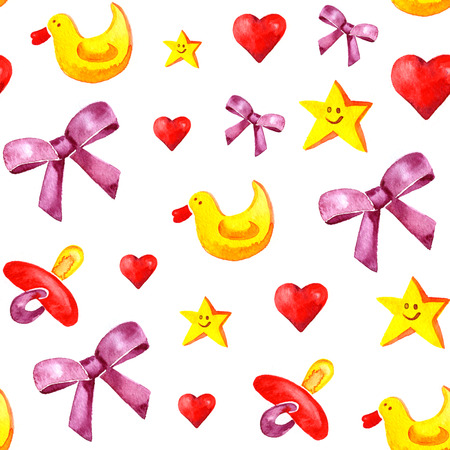 pezones: Watercolor childrens pattern with bows, ducks, nipples, hearts, and stars