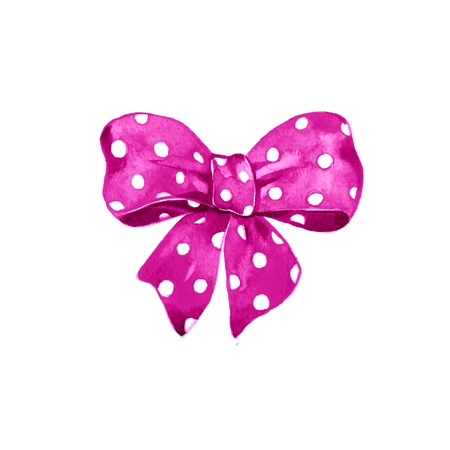pink satin: Watercolor pink satin bow polka dot on white background