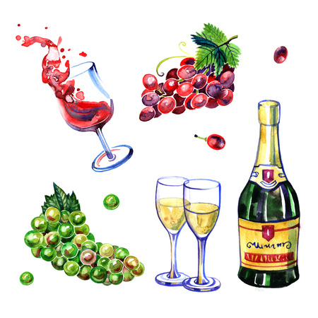 red grape: Watercolor grape and wine elements with hand drawn art Stock Photo