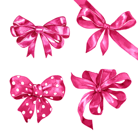wrap wrapped: Watercolor pink bows set on white background