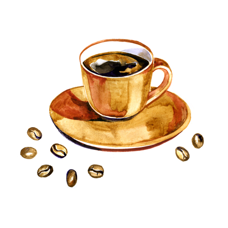 Hand drawn watercolor coffee design elements on white background