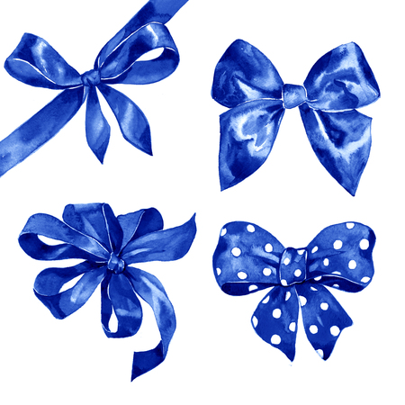 blue bow: Watercolor blue bow set on white background