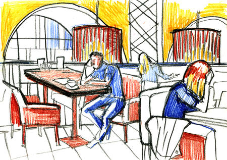 sketch of people sit in cafes interior