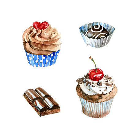 cupcakes isolated: Watercolor hand drawn pieces of chocolate, cupcakes and sweetc. Isolated sweet food illustration on white background