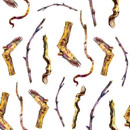twigs: seamless pattern with watercolor wood twigs,hand drawn