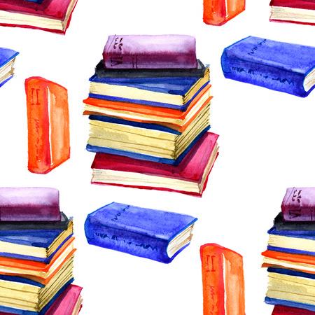 Nahtlose Aquarell Muster mit Buch auf weißem Standard-Bild - 60081875