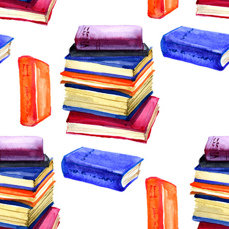 a literary sketch: Seamless watercolor pattern with book on white